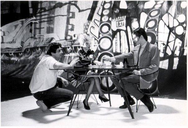 Director Dominic Orlando, Terri Nunn and John Crawford on the set of The Metro