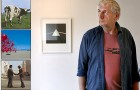 The late Storm Thorgerson, next to a few of the legendary album covers he designed.