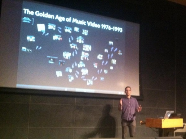 Stephen Pitalo giving his presentation on THE HISTORY OF MUSIC VIDEO, PART ONE at the  2014 RE:Mixed Media Festvial