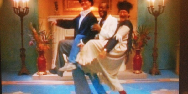 "Bill Irwin, Bobby McFerrin, and Robin Williams in the 1988 video for McFerrin's hit  ""Don't Worry Be Happy"""