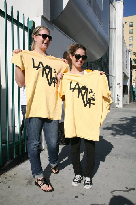 I Love L.A.: Sami Kriegstein and Colleen Curlin, co-directors of LA Music Video Festival, show off their swag