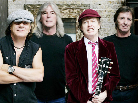 They're gonna ride on: left to right, AC/DC members Brian Johnson, Cliff Williams, Angus Young and Phil Rudd
